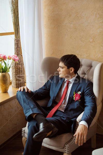 Pan młody sam przepiękny poważny przystojny mężczyzna Zdjęcia stock © artfotodima