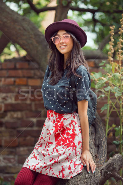 Mixed race college student girl at campus outdoors Stock photo © artfotodima
