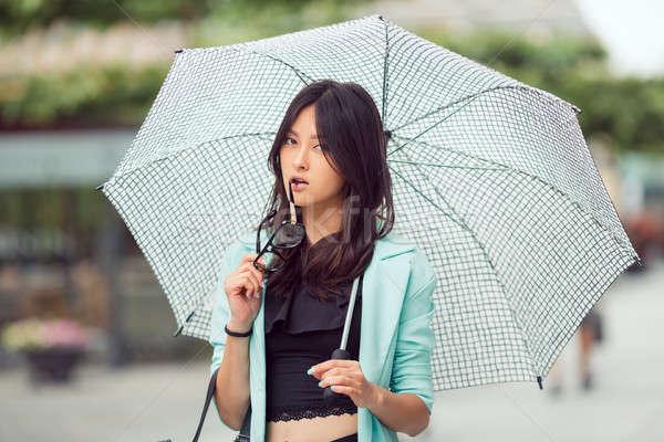ázsiai lány város portré komoly szexi nő Stock fotó © artfotodima