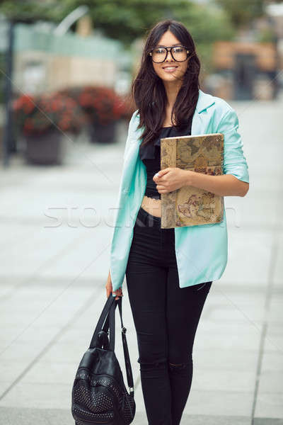 Asian student meisje stad portret schoolmeisje Stockfoto © artfotodima