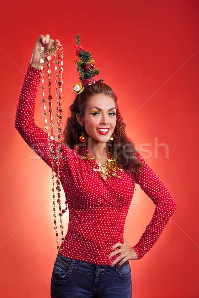 New Year and Christmas holidays funny image with model Stock photo © artfotodima