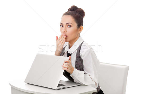 Stock photo: Surprised businesswoman at work. Obscene content