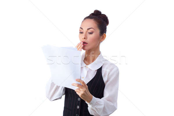成功した 白人 女性実業家 読む 文書 驚いた ストックフォト © artfotodima