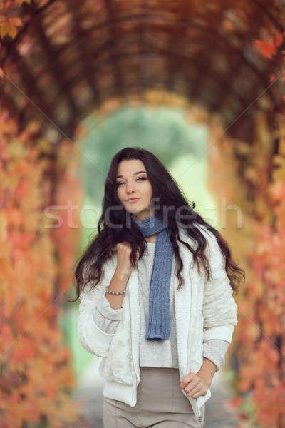 Outono menina retrato cidade parque ao ar livre Foto stock © artfotodima