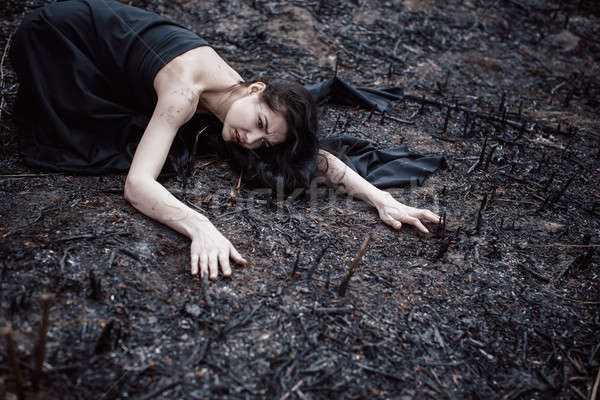People and dying nature. Ecology concept Stock photo © artfotodima