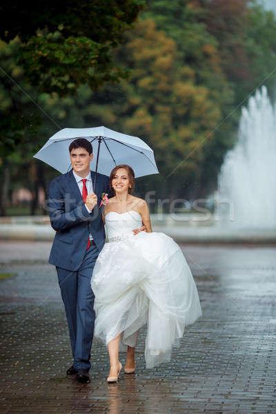 Feliz noiva noivo casamento andar branco Foto stock © artfotodima
