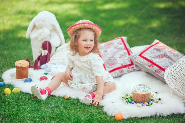 счастливым ребенка луговой вокруг Пасху украшение Сток-фото © artfotodima
