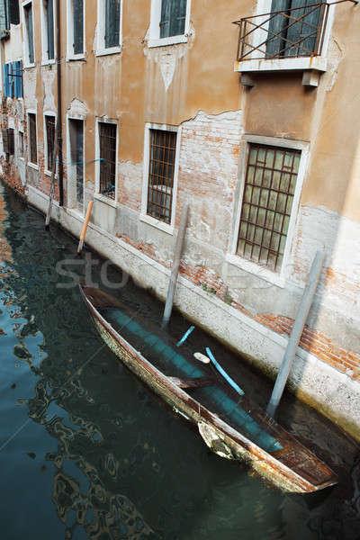 A sinking boat in Venice Italy Stock photo © artfotodima