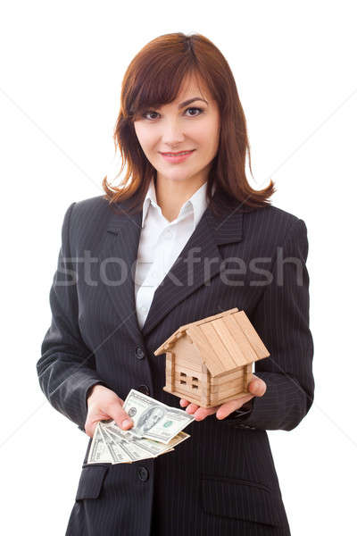 adult realtor with money and wooden small house,it could be the tenant too. All isolated on white ba Stock photo © artfotodima