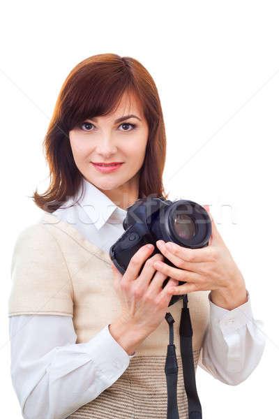 Stock photo: Beautiful adult woman with camera