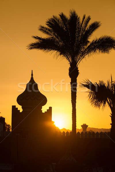 Stock fotó: Arab · naplemente · narancs · épület · pálmafák · tájkép