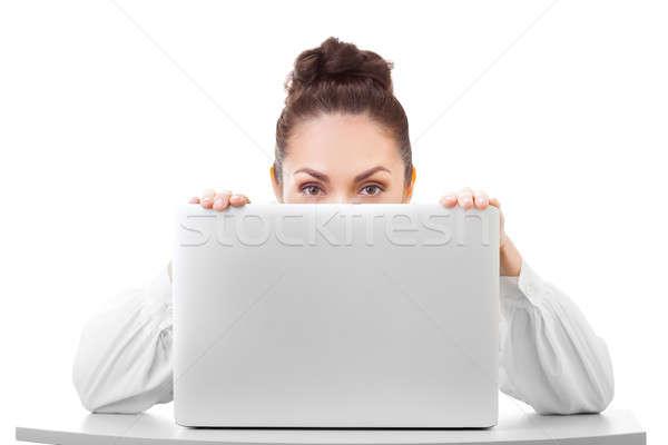 Bussines woman smiling showing white blank sign laptop Stock photo © artfotodima