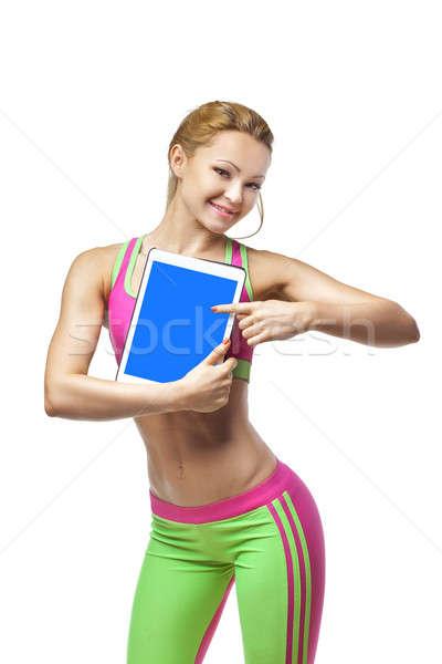 улыбаясь спортивных женщину экране Сток-фото © artfotodima