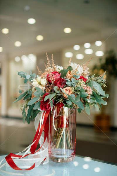 Stockfoto: Mooie · boeket · vers · bloemen · bruiloft