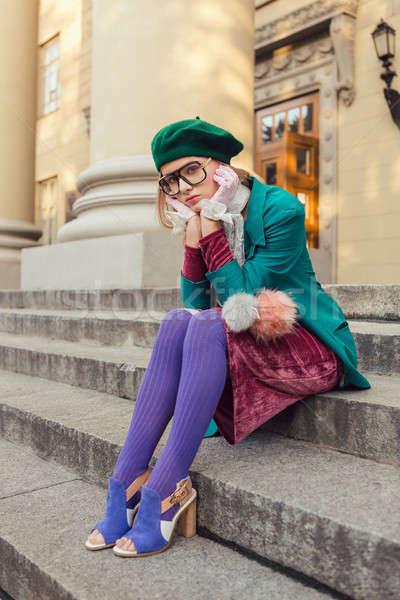 Mode coup fille campus extérieur Photo stock © artfotodima