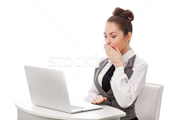 Zdziwiony kobieta interesu pracy nieprzyzwoity zawartość obraz Zdjęcia stock © artfotodima