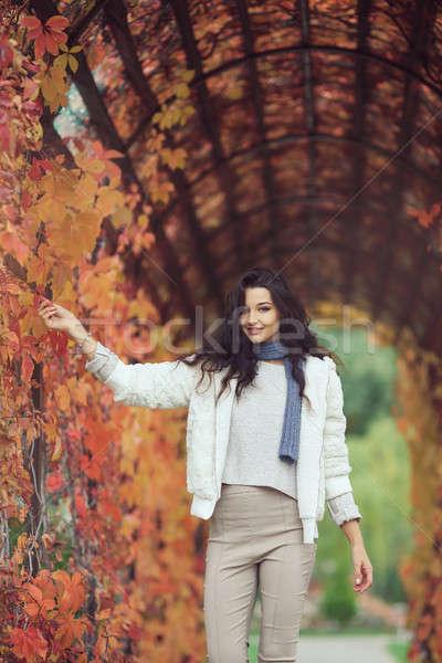 осень девушки портрет город парка улице Сток-фото © artfotodima