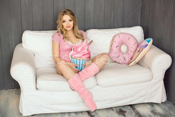 Stock fotó: Terhes · nő · játékok · fagylalt · pózol · bent · otthon