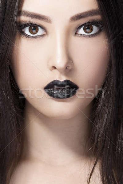 женщину красоту моде портрет черный губ Сток-фото © artfotodima