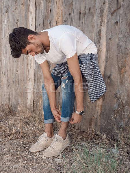 ハンサム 若い男 屋外 立って 木製 ストックフォト © artfotodima