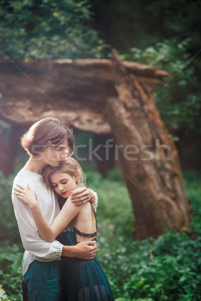 Young couple of elves in love outdoor Stock photo © artfotodima
