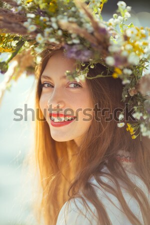 Beautiful girl in meadow Stock photo © artfotodima
