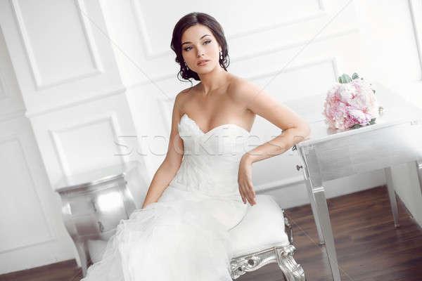 美しい 花嫁 結婚式 ヘアスタイル 化粧 高級 ストックフォト © artfotodima