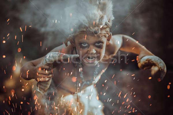 Ragazzo fuoco sciamano scary giovani Foto d'archivio © artfotodima