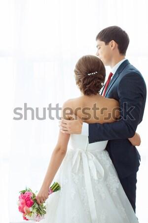 невеста жених ярко комнату домой свадьба Сток-фото © artfotodima