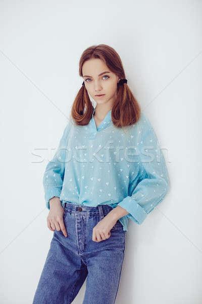 Portré fiatal gyengéd szőke nő tinilány egészséges Stock fotó © artfotodima