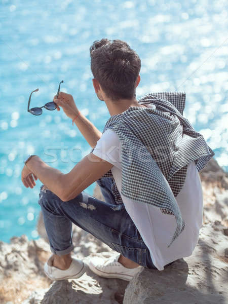 Man traveler near the sea Stock photo © artfotodima