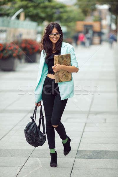 ázsiai diák lány város portré iskolás lány Stock fotó © artfotodima