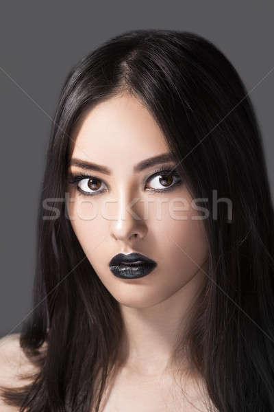 Kadın güzellik moda portre siyah dudaklar Stok fotoğraf © artfotodima