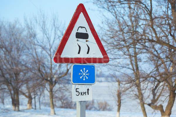 Inverno condução estrada estrada rural cautela risco Foto stock © artfotodima