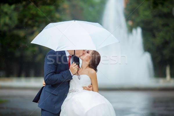 Heureux mariée marié mariage marche blanche Photo stock © artfotodima