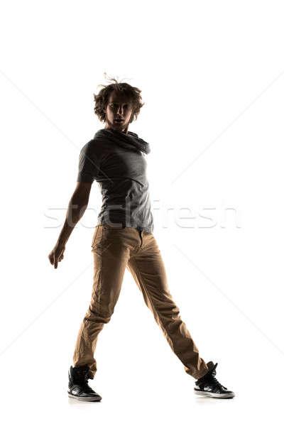 хип-хоп танцовщицы изолированный белый молодым человеком Сток-фото © artfotodima