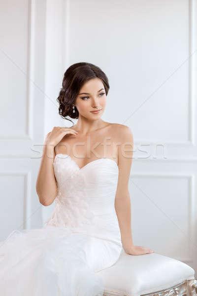 Beautiful bride. Wedding hairstyle make-up luxury fashion dress concept Stock photo © artfotodima