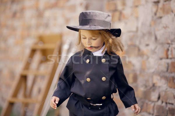 дымоход девушки кирпичная стена бизнеса детей стены Сток-фото © artfotodima