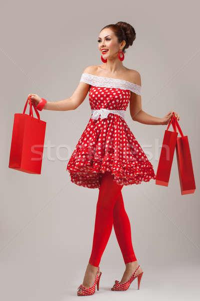 幸せ 女性 ショッピングバッグ ピンナップ レトロスタイル ストックフォト © artfotodima
