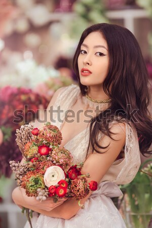 красивой улыбаясь девушки луговой венок цветы Сток-фото © artfotodima