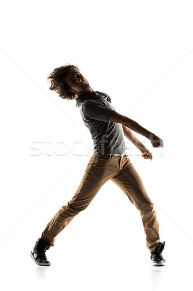 Hip Hop Dancer performing isolated on a white background Stock photo © artfotodima