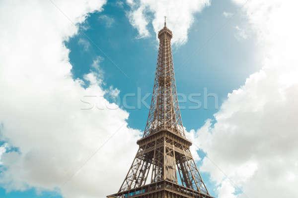 Eiffel-torony szív alak felhők szeretet Párizs Valentin nap Stock fotó © artfotodima