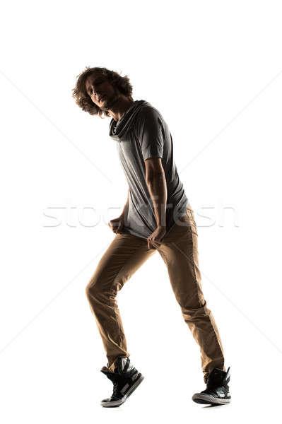 Nowoczesny styl tancerz stwarzające studio młody człowiek taniec Zdjęcia stock © artfotodima