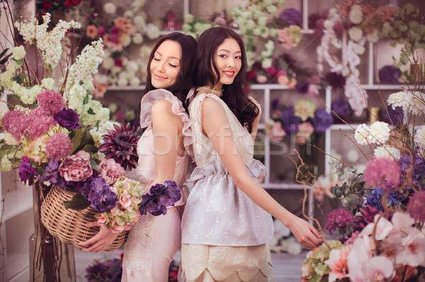 Foto stock: Hermosa · Asia · mujeres · feliz · de · trabajo · flor