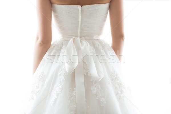 Detalhes belo vestido de noiva de volta pormenor Foto stock © artfotodima