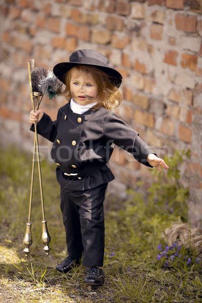 Kémény lány téglafal üzlet gyerekek fal Stock fotó © artfotodima