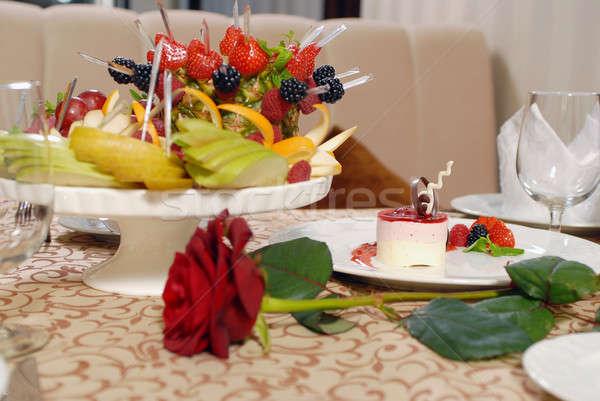Fruit chocolate cake with a delicious cream Stock photo © artfotoss