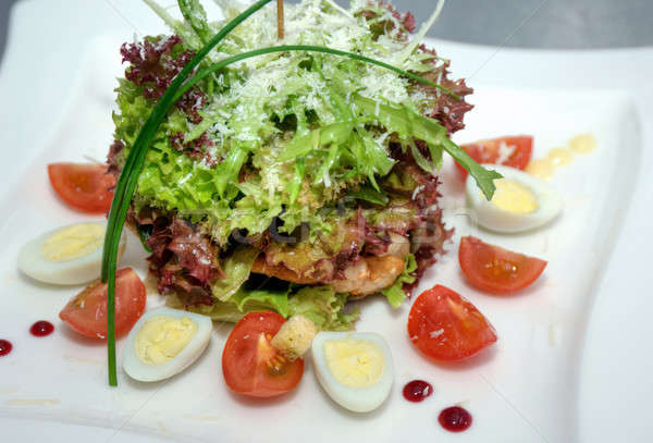 salad with meat and eggs Stock photo © artfotoss