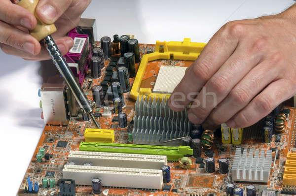 Kezek dolgozik alkatrészek számítógép sültkrumpli terv Stock fotó © artfotoss