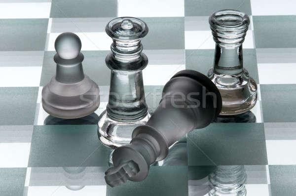 Sakkfigurák fekete erő játék hátterek stratégia Stock fotó © artfotoss